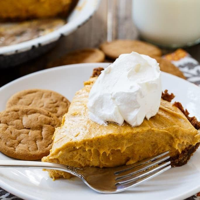 "<p>Soft and pillowy, this marshmallow pumpkin pie will be the hit of the dinner table. With a fun gingersnap crust, this twist on the traditional pumpkin pie is definitely worth making.</p> <p><strong>Get the recipe</strong>: <a href=""https://spicysouthernkitchen.com/marshmallow-pumpkin-pie/"" class=""link rapid-noclick-resp"" rel=""nofollow noopener"" target=""_blank"" data-ylk=""slk:marshmallow pumpkin pie"">marshmallow pumpkin pie</a></p>"