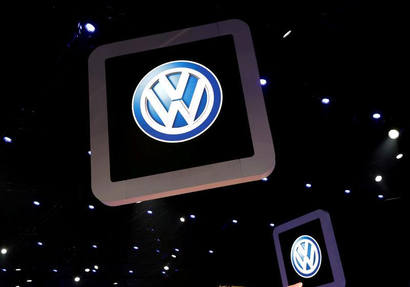 FILE PHOTO: Volkswagen logos are pictured during the media day of the Salao do Automovel International Auto Show in Sao Paulo