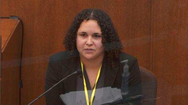 PHOTO: In this image taken from video, witness Breahna Giles, a forensic scientist with the Minnesota Bureau of Criminal Apprehension testifies on April 7, 2021, in the trial of Derek Chauvin at the Hennepin County Courthouse in Minneapolis. (Court TV via AP)