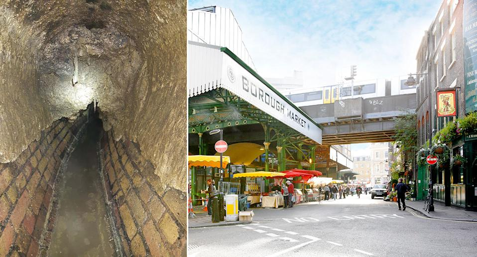 Thames Water said a huge fatberg weighing 63 tonnes – several tonnes of which was concrete – was cleared from a Pall Mall sewer and a sewer. (PA)