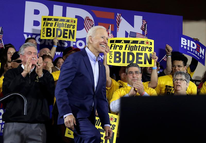 Former Vice President and Democratic presidential candidate Joe Biden takes the stage during a rally at the Teamster Local 249 Hall in Pittsburgh, Monday, April 29, 2019. (AP Photo/Gene J. Puskar)