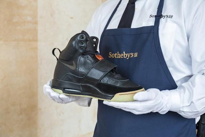 A photo of the Kanye West 'Grammy Worn' Nike Air Yeezy Sample that will be presented at the Hong Kong Convention Center April 16th. Credit: Sotheby's