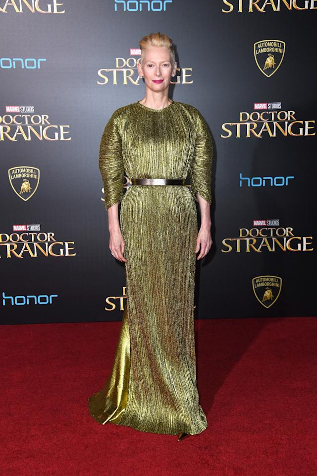 <p>Tilda rarely puts a fashionable foot wrong and this week was no different. The 55-year-old star, who's been wearing one wow-factor ensemble after another during the 'Doctor Strange' promo tour, donned a very luxe looking pleated metallic number for the film's LA debut. <i>[Photo: Getty]</i></p>
