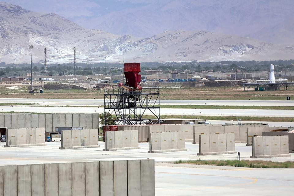 Bagram Airfield base after all U.S. and NATO forces evacuated in Parwan province, eastern Afghanistan on Thursday on July 8, 2021. (Ezatullah Alidost/UPI/Shutterstock)