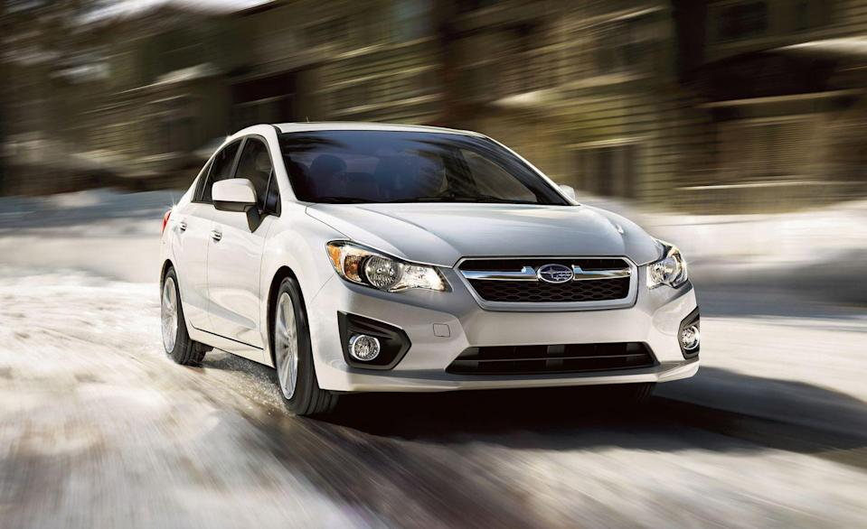 """<p>Subarus have earned such a good reputation for safety and reliability that there are three on this list. The smallest is the <a href=""""https://www.caranddriver.com/subaru/impreza"""" rel=""""nofollow noopener"""" target=""""_blank"""" data-ylk=""""slk:Impreza"""" class=""""link rapid-noclick-resp"""">Impreza</a>, which is unique in the compact class for its all-wheel-drive powertrain. Additional traction and stability in wet or snowy conditions is one of the reasons the model is so popular in the Northeast and Northwest regions of the country. Available as a small sedan or hatchback, the Impreza is also fuel efficient and performs well with solid handling and adequate acceleration. The turbocharged Impreza WRX is a favorite of car enthusiasts. The fifth generation of the Impreza was sold from 2012 to 2016. The sixth generation, still sold today, debuted in 2017. Prices for well-kept 2014 models start at about $8500.</p>"""
