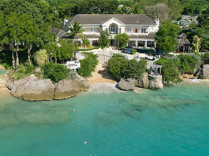 The home comes with a private beach.