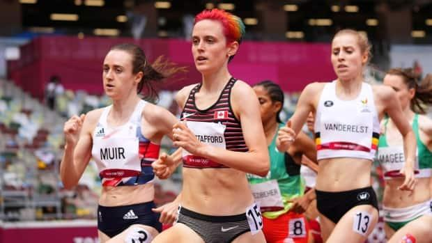 Canada's Gabriela Debues-Stafford leads on her way to victory in a women's 1,500-metre heat at the Tokyo Olympics on Monday in Japan. (Aleksandra Szmigiel/Reuters - image credit)
