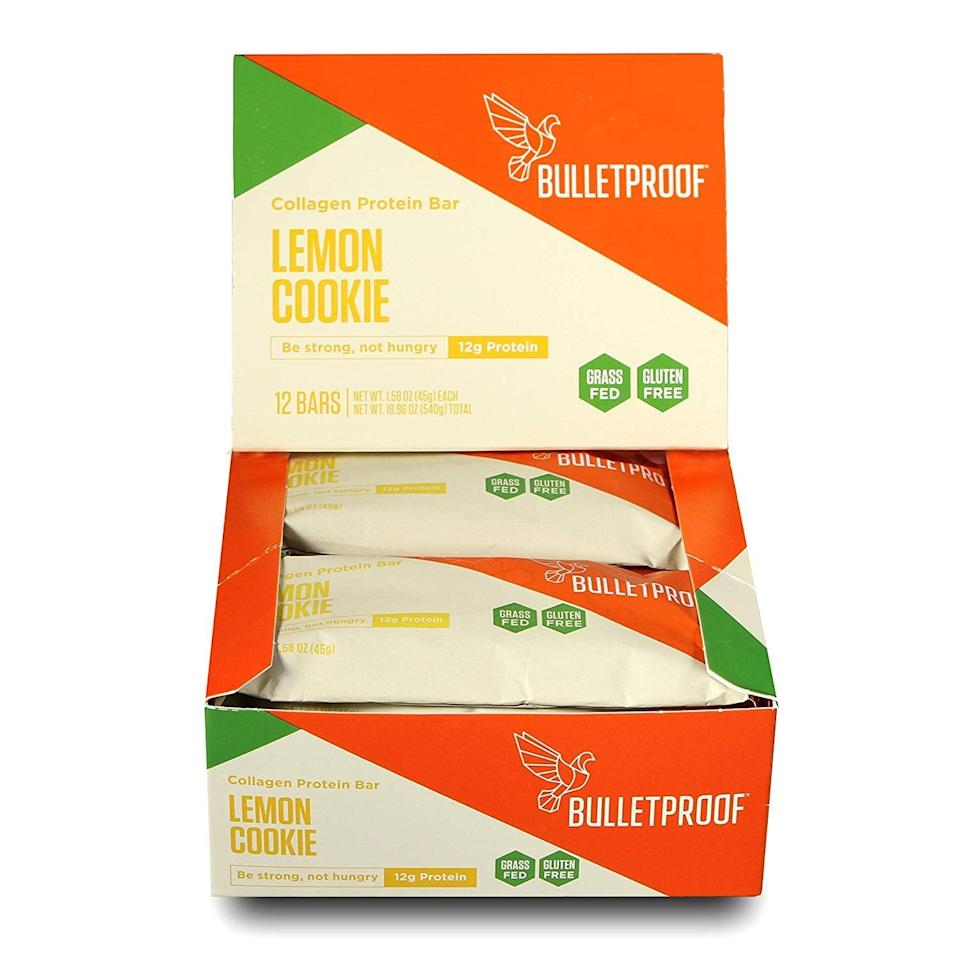 <p>Power up for your day with one of these <span>Bulletproof Collagen Protein Bars</span> ($35 for 12).</p>