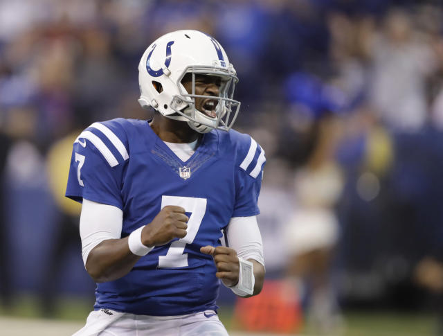 Yes! Colts QB Jacoby Brissett helped his college program, N.C. State, make a bit of history on Sunday. (AP)