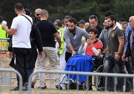 Zaid Mustafa leaves after the funeral of his family members in Christchurch