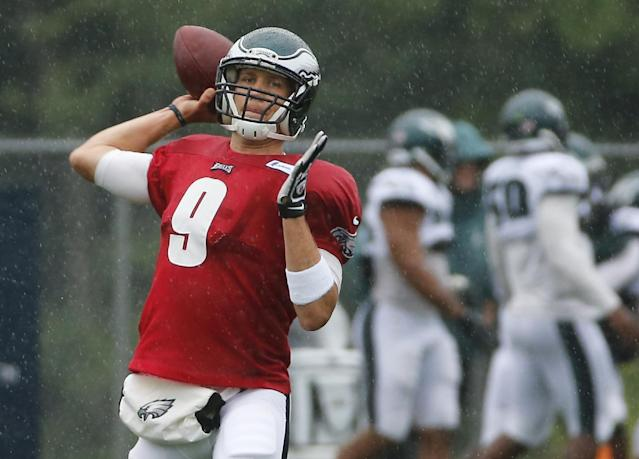 Philadelphia Eagles quarterback Nick Foles (9) passes the football during an NFL football training camp joint practice of the New England Patriots and the Philadelphia Eagles in Foxborough, Mass., Wednesday, Aug. 13, 2014. (AP Photo/Elise Amendola)