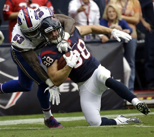 Houston Texans tight end Garrett Graham (88) is tackled by Buffalo Bills outside linebacker Nigel Bradham (53) after catching a pass in the fourth quarter of an NFL football game on Sunday, Nov. 4, 2012, in Houston. (AP Photo/David J. Phillip)
