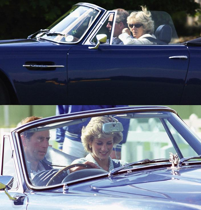 In this composite image HRH Prince Charles is seen driving both Camilla Parker-Bowles (Top in 2004) and Princess Diana (Bottom in 1985) in the same Aston Martin car. Clarence House has confirmed February 10, 2005 that Charles and partner Camilla Parker-Bowles will marry on April 8, 2005.