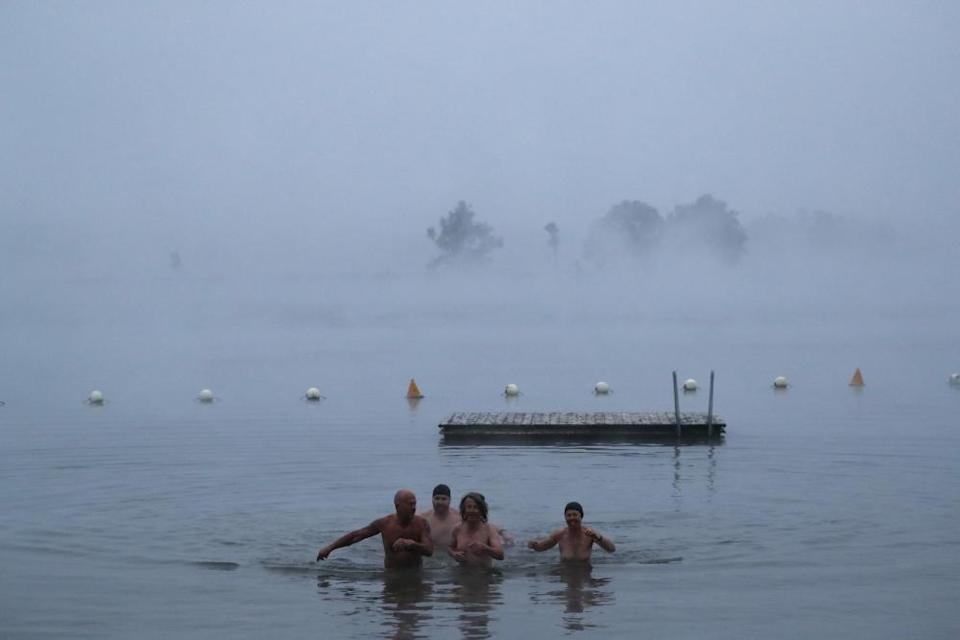 The annual winter solstice nude swim in Lake Burley Griffin in Canberra on 21 June 2019.