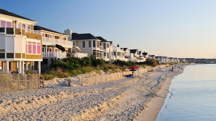 beach in Lewes Delaware at sunset
