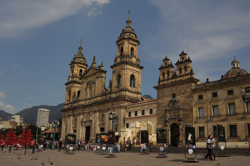 Christmas decoration in front of cathedral in Bolivar square, in the old part of the city. Bogota, formerly called Santa Fe de Bogota, is the capital city of Colombia, as well as the most populous city in the country, with an estimated 7,304,384 inhabitants as of 2009.