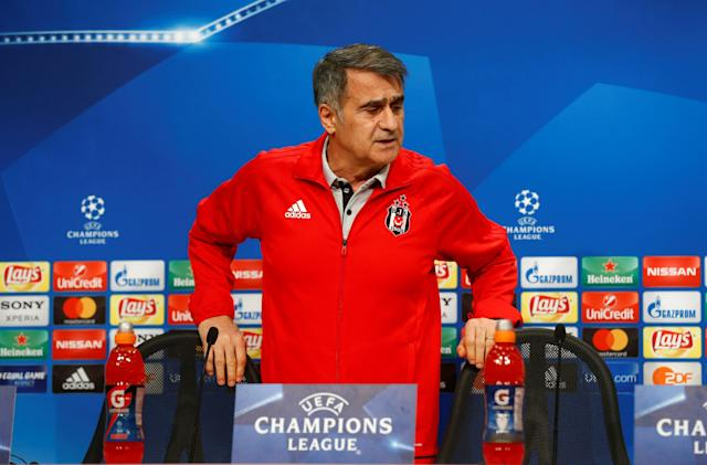 Soccer Football - Champions League - Besiktas Press Conference - Allianz Arena, Munich, Germany - February 19, 2018 Besiktas coach Senol Gunes during the press conference REUTERS/Ralph Orlowski