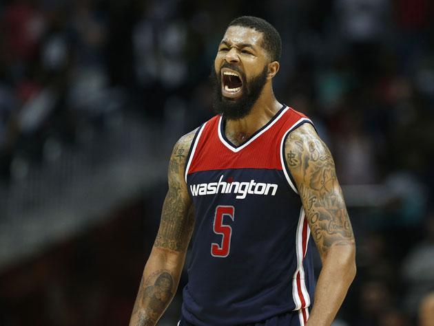 "<a class=""link rapid-noclick-resp"" href=""/nba/players/4894/"" data-ylk=""slk:Markieff Morris"">Markieff Morris</a> warms up. (Getty Images)"
