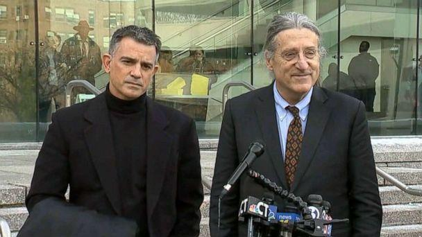 PHOTO: Fotis Dulos stands next to his lawyer, Norm Pattis, while Pattis makes a statement to the press outside court in Stamford, Conn., Jan. 23, 2020. (WTNH)