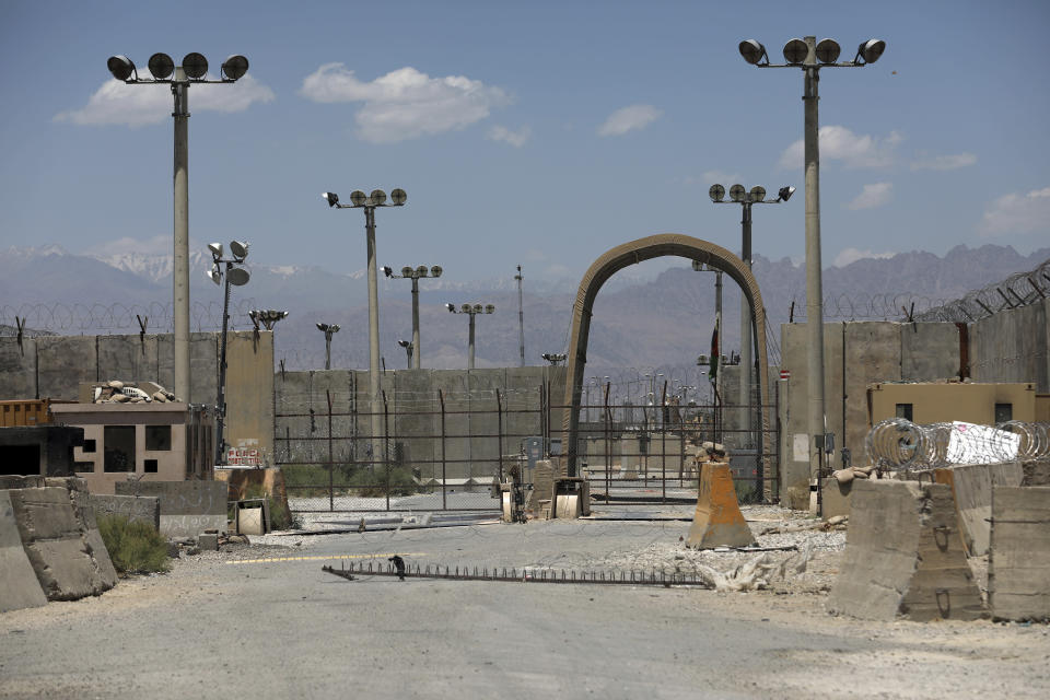 A gate is seen at the Bagram Air Base in Afghanistan, Friday, June 25, 2021. In 2001 the armies of the world united behind America and Bagram Air Base, barely an hours drive from the Afghan capital Kabul, was chosen as the epicenter of Operation Enduring Freedom, as the assault on the Taliban rulers was dubbed. It's now nearly 20 years later and the last US soldier is soon to depart the base. (AP Photo/Rahmat Gul)