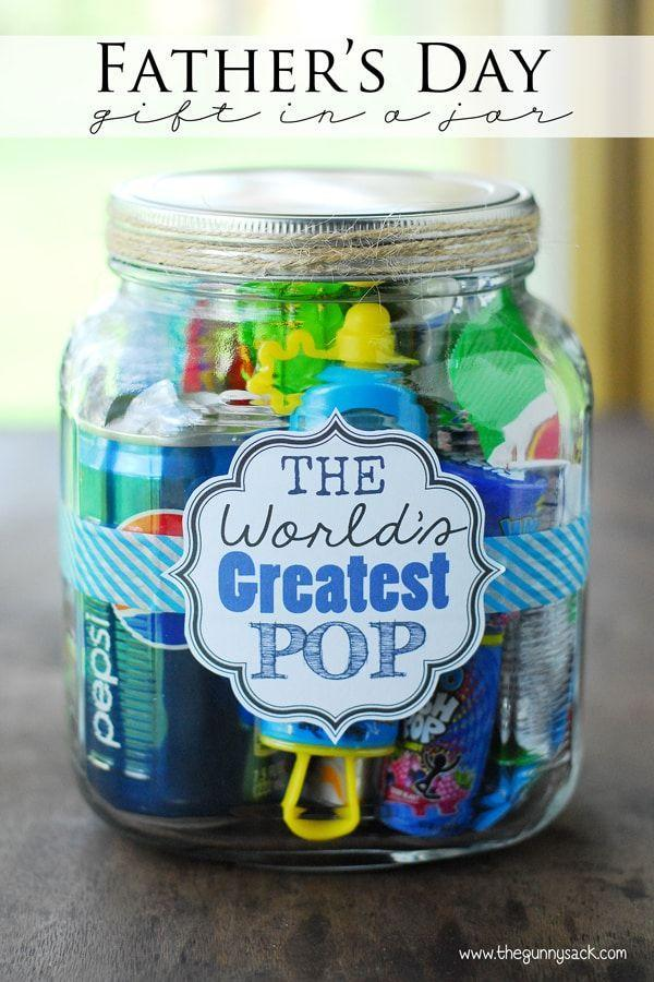 """<p>Dad will get a kick out of this jar filled with punny treats.</p><p><strong>Get the tutorial at <a href=""""https://www.thegunnysack.com/fathers-day-gift-ideas-worlds-greatest-pop-gift-in-a-jar"""" rel=""""nofollow noopener"""" target=""""_blank"""" data-ylk=""""slk:The Gunny Sack"""" class=""""link rapid-noclick-resp"""">The Gunny Sack</a>.</strong></p><p><strong><strong><a class=""""link rapid-noclick-resp"""" href=""""https://www.amazon.com/Anchor-Hocking-Montana-Sealed-Brushed/dp/B000RMO41M?tag=syn-yahoo-20&ascsubtag=%5Bartid%7C10050.g.1171%5Bsrc%7Cyahoo-us"""" rel=""""nofollow noopener"""" target=""""_blank"""" data-ylk=""""slk:SHOP JARS"""">SHOP JARS</a></strong></strong></p>"""