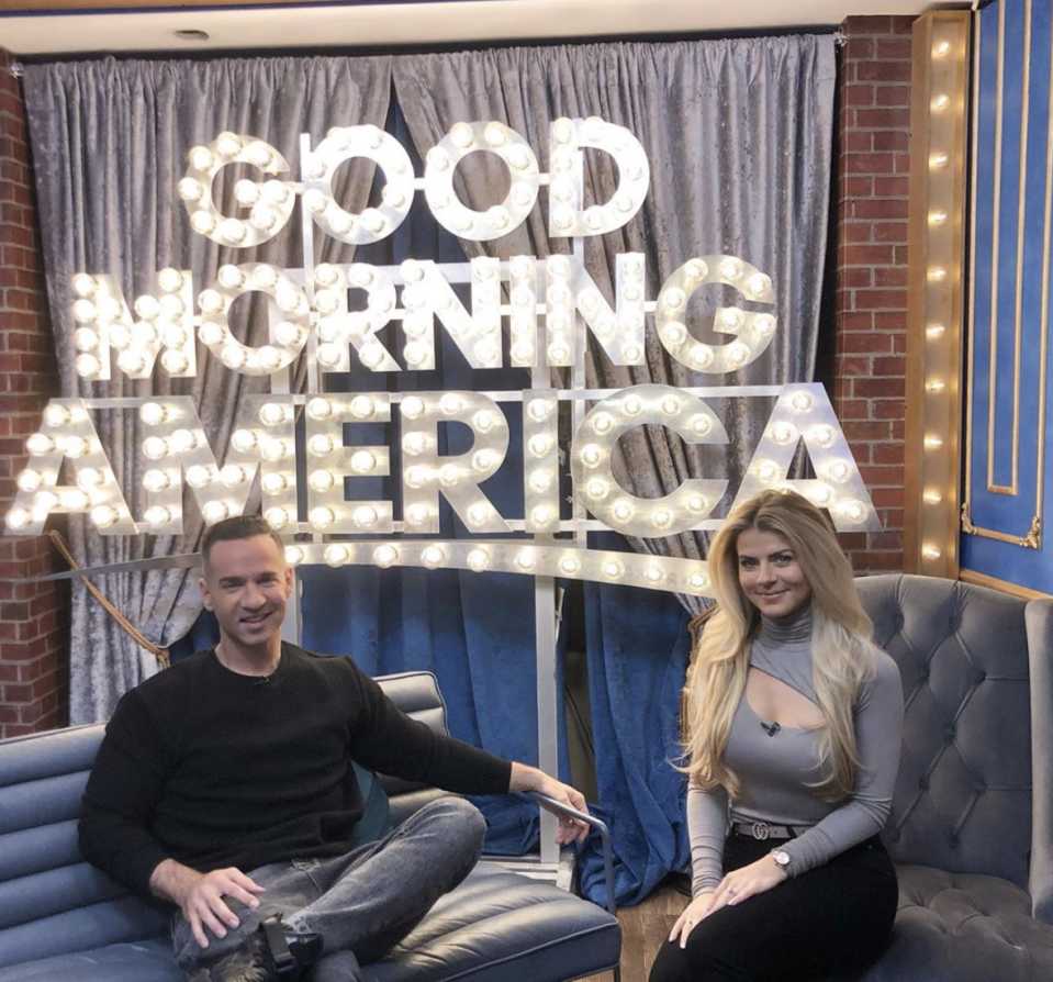 """Mike """"The Situation"""" Sorrentino and his wife, Lauren, appear on """"Good Morning America."""" (Photo: Lauren Sorrentino via Instagram)"""