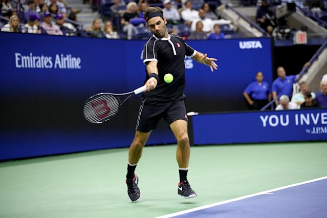 "<a class=""link rapid-noclick-resp"" href=""/olympics/rio-2016/a/1221919/"" data-ylk=""slk:Roger Federer"">Roger Federer</a> of Switzerland returns a shot against Sumit Nagal of India during their Men's Singles first round match Monday at the U.S. Open in New York. (Clive Brunskill/Getty Images)"