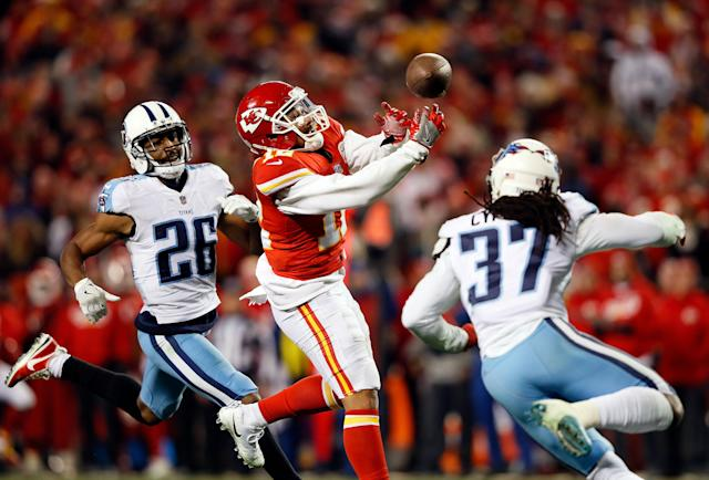 <p>Wide receiver Albert Wilson #12 of the Kansas City Chiefs misses a 4th down desperation pass in the final minutes of the AFC Wild Card playoff game against the Tennessee Titans at Arrowhead Stadium on January 6, 2018 in Kansas City, Missouri. The Titans defeated the Chiefs with a final score of 22-21. (Photo by Jamie Squire/Getty Images) </p>