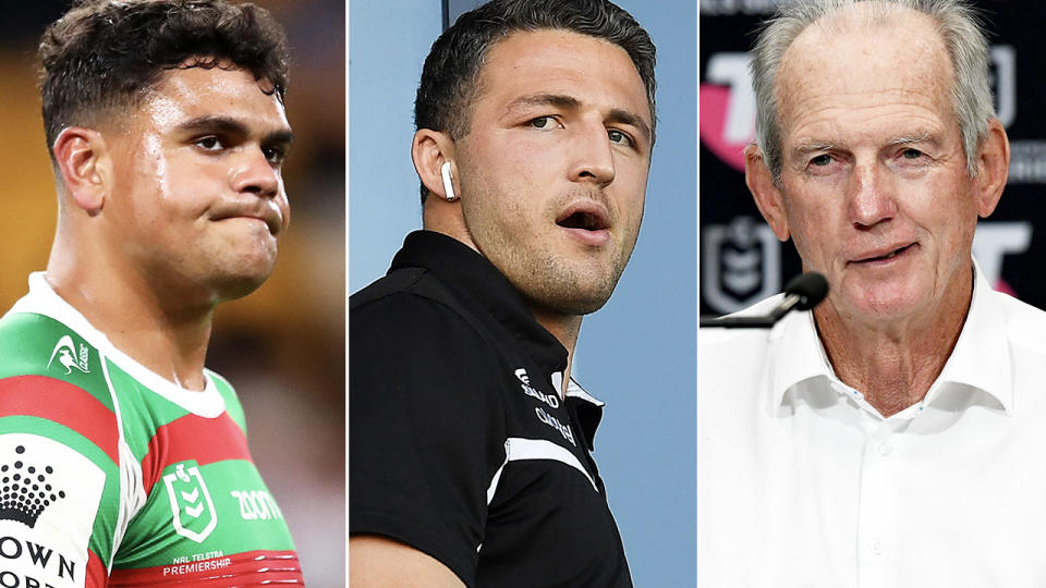 Latrell Mitchell, Sam Burgess and Wayne Bennett, pictured here in action for South Sydney.