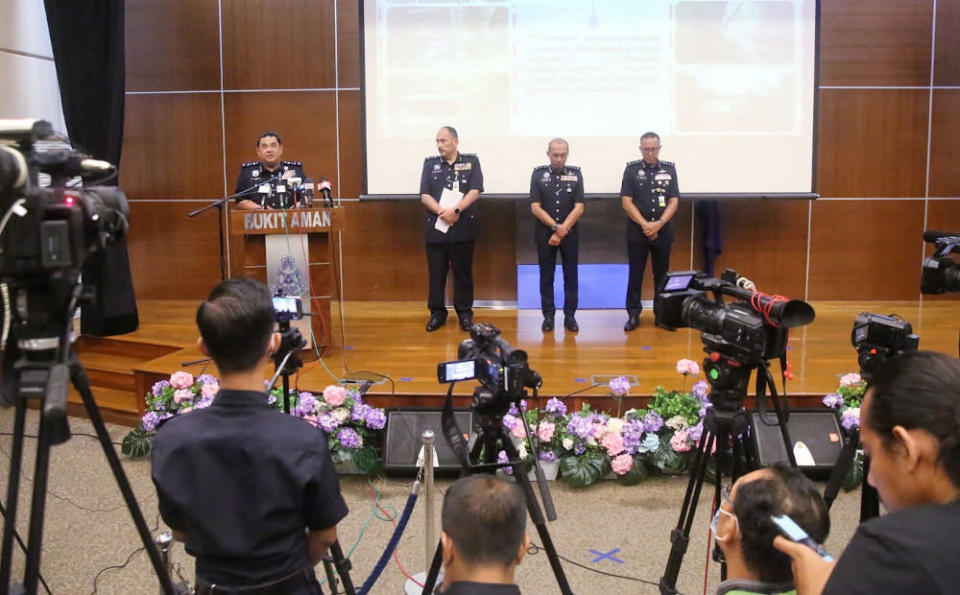 Bukit Aman Criminal Investigations Department director Datuk Huzir Mohamed at a press conference on smuggling of migrants operations, June 30, 2020. — Picture by Choo Choy May