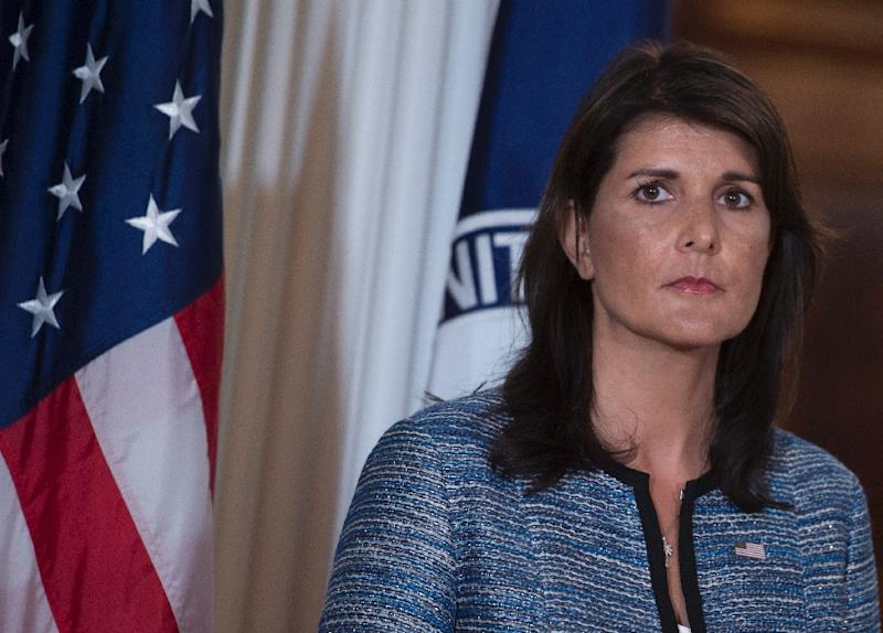 """The Syrian regime's violations of the ceasefire in southwest Syria need to stop,"" US Ambassador to the UN Nikki Haley said in a statement (AFP Photo/Andrew CABALLERO-REYNOLDS)"