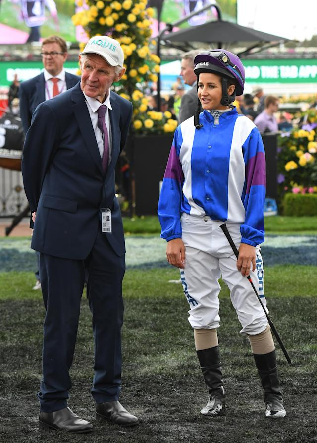 Trainer Paddy Payne and daughter Michelle Payne at Flemington Racecourse on in Melbourne, Australia, 2018. (Vince Caligiuri/Getty Images)