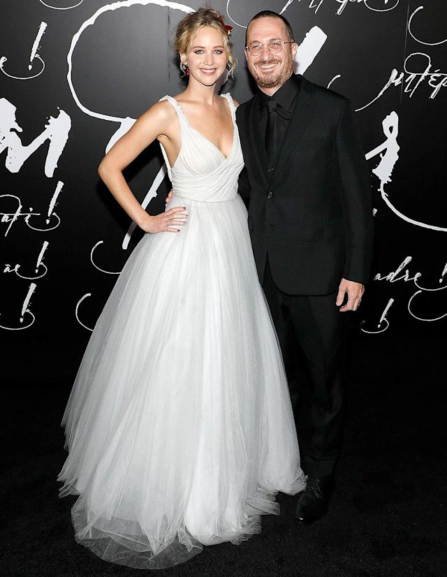 "<p>As <em>Mother!</em> premiered in New York, fans finally got a photo of the actress and her director beau of nearly a year side-by-side. They also <a href=""https://www.yahoo.com/celebrity/jennifer-lawrence-darren-aronofsky-pose-014526547.html"" data-ylk=""slk:gushed about each other's work"" class=""link rapid-noclick-resp"">gushed about each other's work</a> on the film. (Photo: Taylor Hill/Getty Images) </p>"