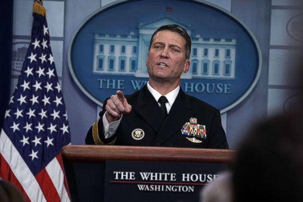 President Donald Trump Dr. Ronny Jackson speaks during the daily White House press briefing at the James Brady Press Briefing Room of the White House Jan. 16 2018 in Washington