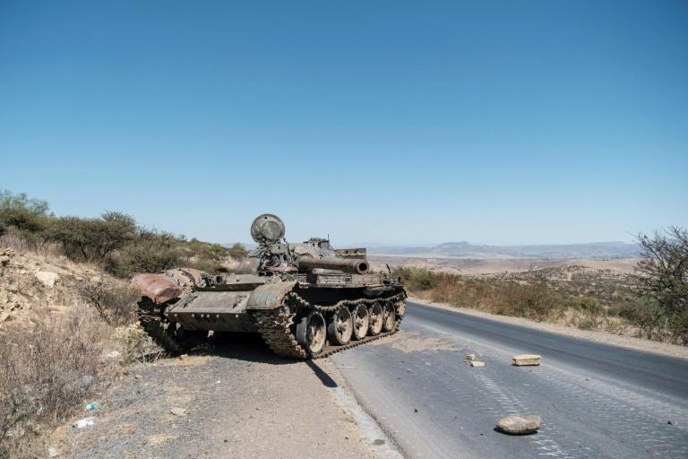 Fighting: A damaged tank pictured on a road north of Mekele, the capital of Tigray, in February (AFP/EDUARDO SOTERAS)