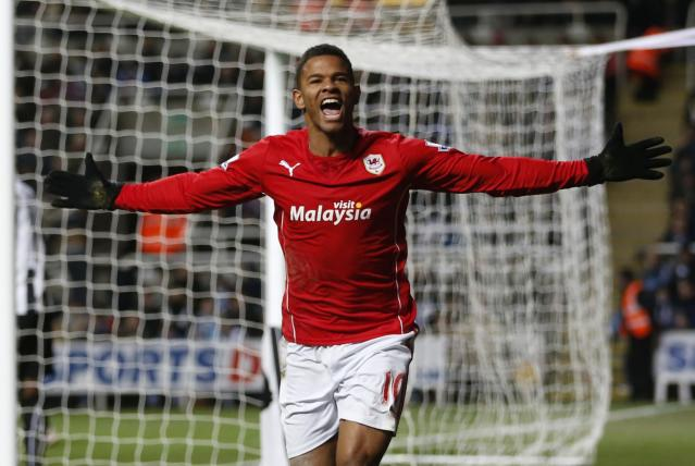 Cardiff City's Fraizer Campbell celebrates his goal against Newcastle United during their English FA Cup soccer match at St James' Park stadium in Newcastle, northern England January 4, 2014. REUTERS/Russell Cheyne (BRITAIN - Tags: SPORT SOCCER)