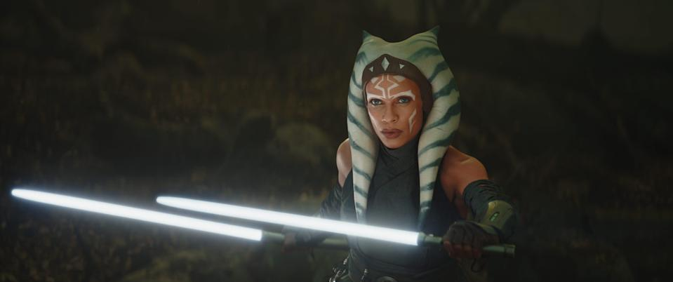 """Rosario Dawson debuted as Ahsoka Tano in the second season of """"The Mandalorian"""" and she'll next be seen in her own """"Star Wars"""" series on Disney+."""