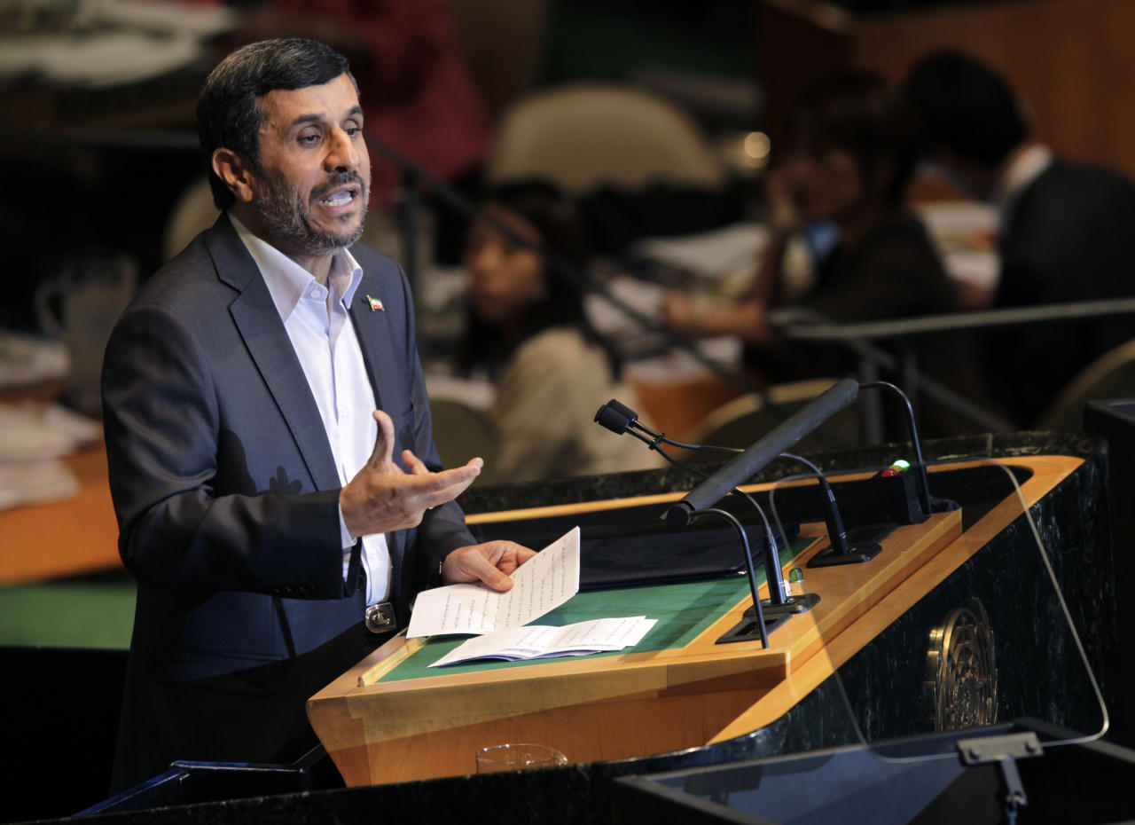 Iranian President Mahmoud Ahmadinejad speaks during the 66th session of the General Assembly at United Nations headquarters Wednesday, Sept. 22, 2011. (AP Photo/Seth Wenig)