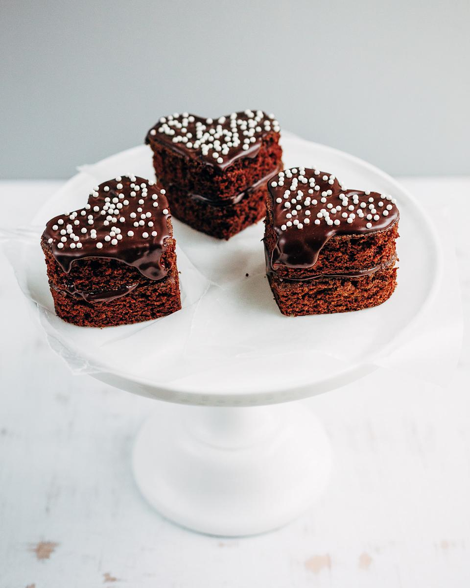 Mini Heart-Shaped Chocolate Cakes with Raspberry Whipped