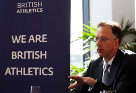 Chairman of UK Athletics Ed Warner during the press conference where it was announced that Sainsbury's will be sponsoring three major meetings this summer. British Athletics Sponsor Announcement - Formans Fish Island, Fish Island, London - 15/4/13. Action Images / Paul Childs