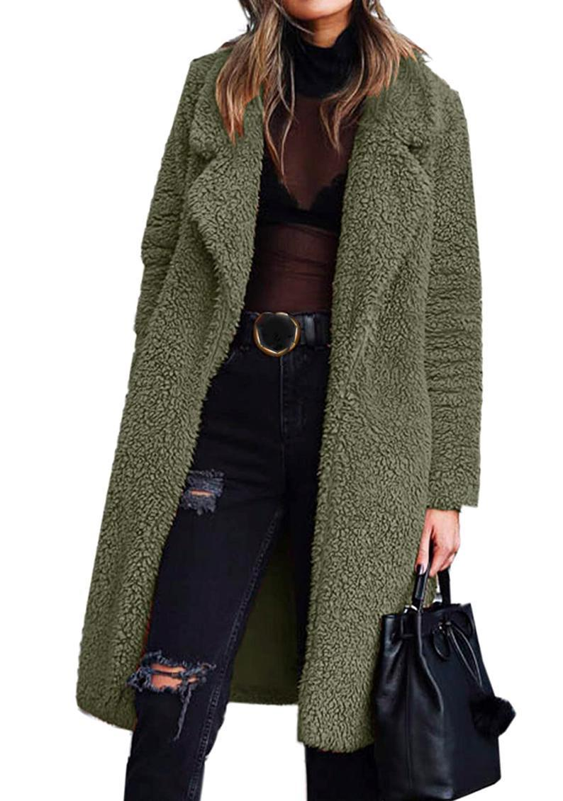 """Available in copper, pale pink, olive green, and more, this fuzzy knee-length coat will leave you nice and swaddled whenever you do have to leave the house this winter. $32, Amazon. <a href=""""https://www.amazon.com/Angashion-Cardigan-Outwear-Jackets-Pockets/dp/B07WZCMBTF"""" rel=""""nofollow noopener"""" target=""""_blank"""" data-ylk=""""slk:Get it now!"""" class=""""link rapid-noclick-resp"""">Get it now!</a>"""