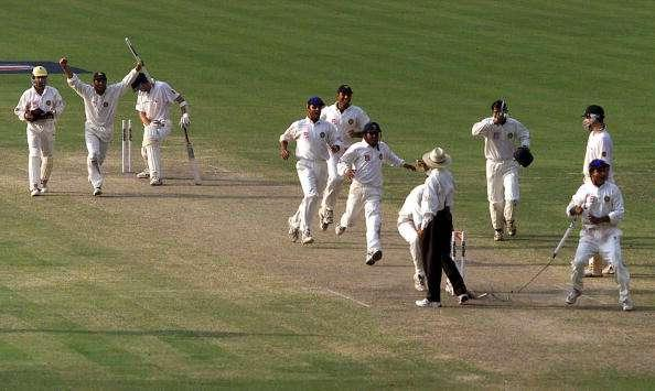 15 Mar 2001: The Indians celebrate the win as the final wicket falls, during day five of the 2nd Test between India and Australia played at Eden Gardens, Calcutta, India. India won by 171 runs X DIGITAL IMAGE Mandatory Credit: Allsport Australia/ALLSPORT