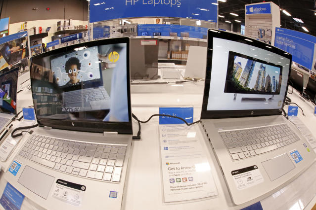 Display of Hewlett-Packard laptop computers in a Best Buy store in Pittsburgh. (AP Photo/Gene J. Puskar)