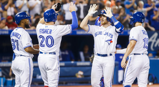 The Blue Jays' offence was absolutely electric in their series-opener against the Texas Rangers at the Rogers Centre. (Photo by Mark Blinch/Getty Images)