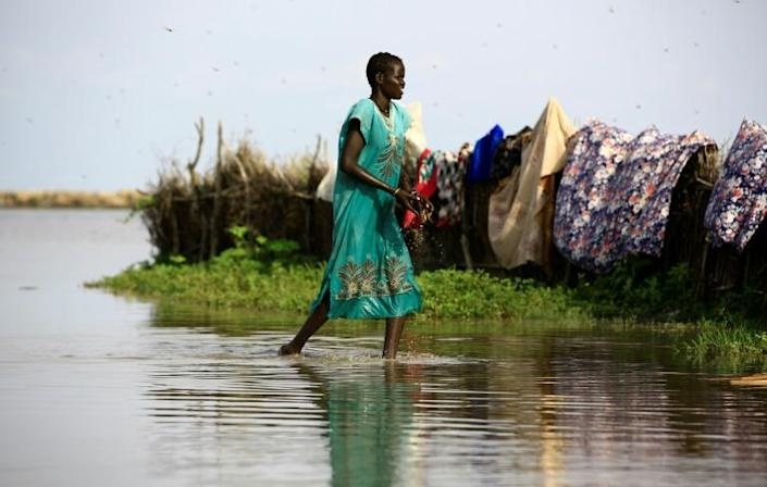 Aid workers have warned of a looming outbreak of water-borne diseases among the doubly displaced refugees (AFP/ASHRAF SHAZLY)