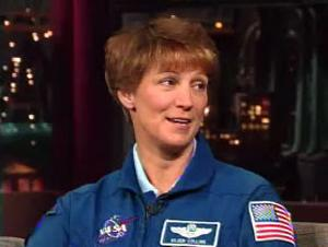 """STS-114 shuttle commander Eileen Collins on the """"Late Show with David Letterman."""""""