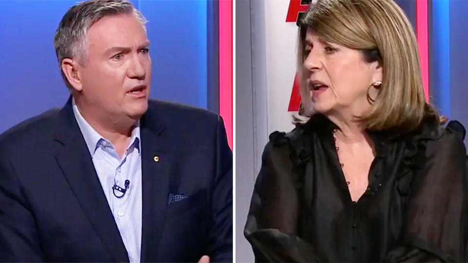 Eddie McGuire and Caroline Wilson, pictured here clashing on Footy Classified.