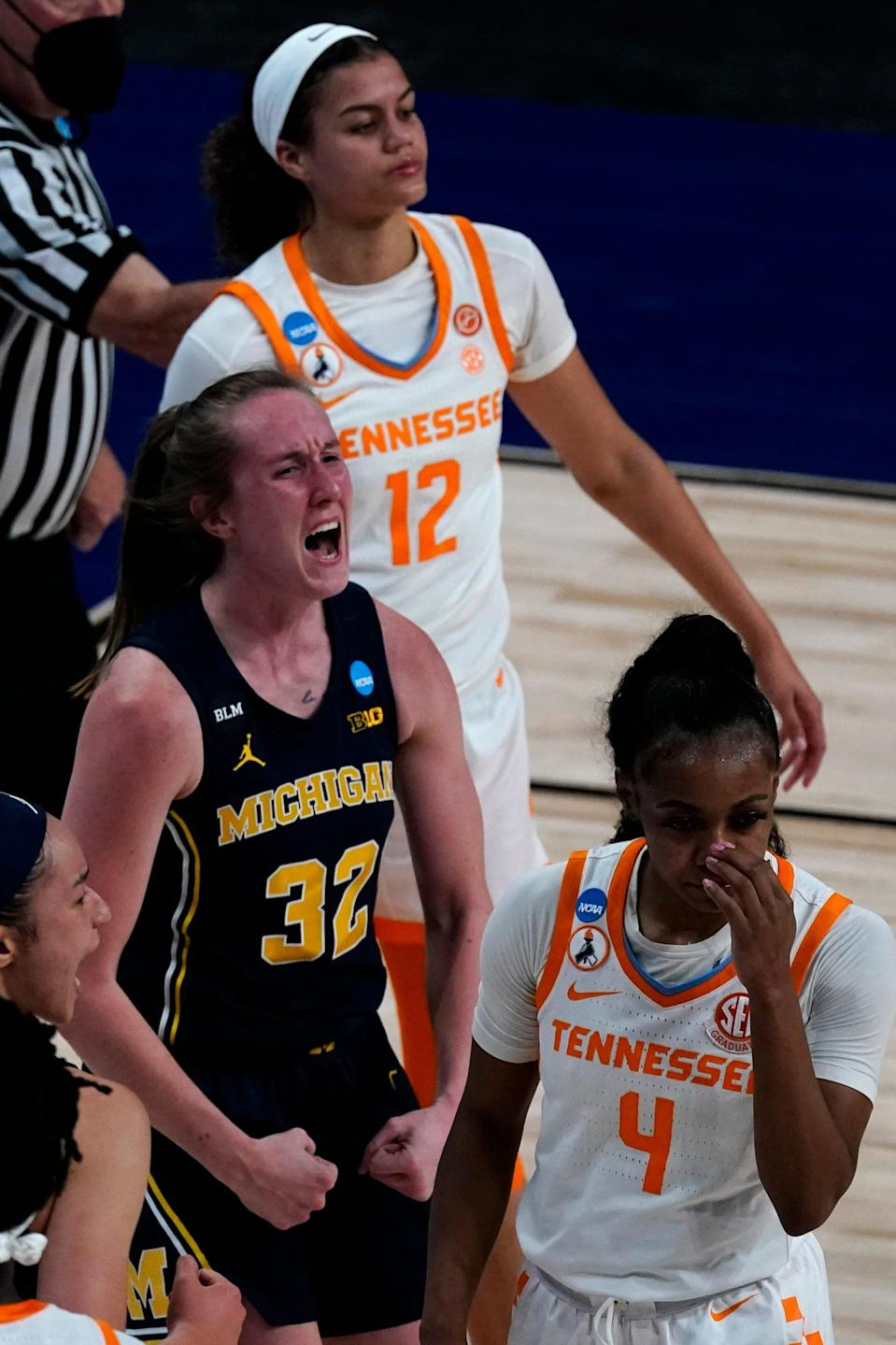 Michigan guard Leigha Brown celebrates after making a basket during the first half of the second round NCAA women's tournament game against Tennessee at the Alamodome in San Antonio on Tuesday, March 23, 2021.