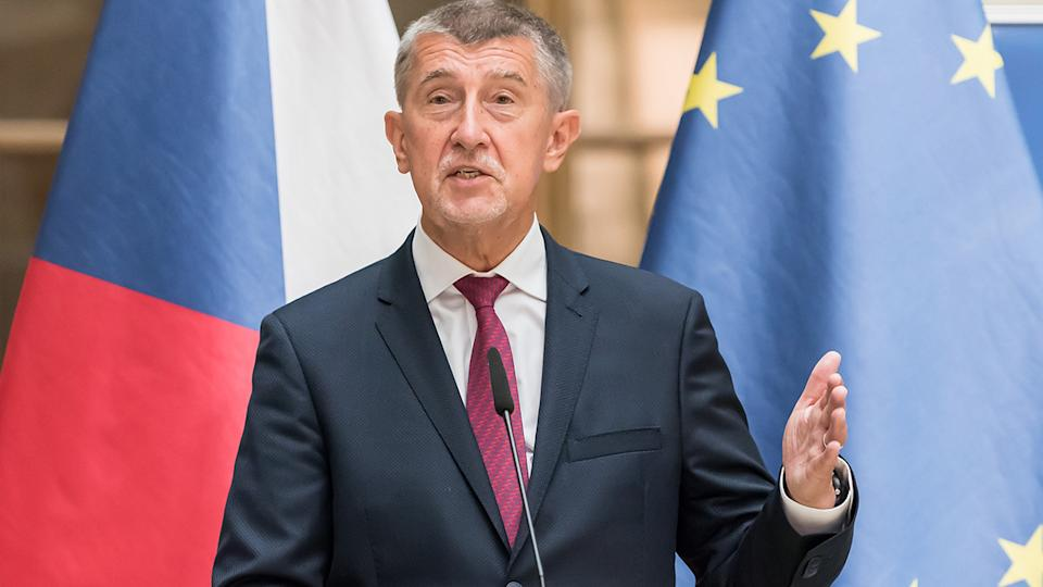 Andrej Babis, pictured here talking to the media in the Czech Republic.