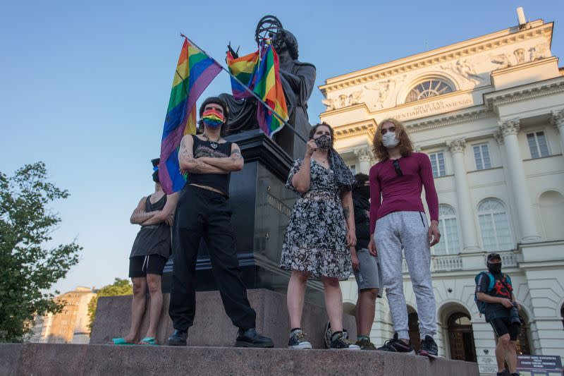 LGBT supporters protest in Warsaw